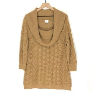 🍩 Jaclyn Smith Tan Cowl Neck Knit Sweater Tunic